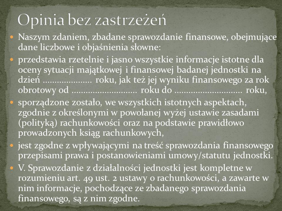 Naszym zdaniem, zbadane sprawozdanie finansowe, obejmujące dane liczbowe i objaśnienia słowne: przedstawia rzetelnie i jasno wszystkie informacje isto