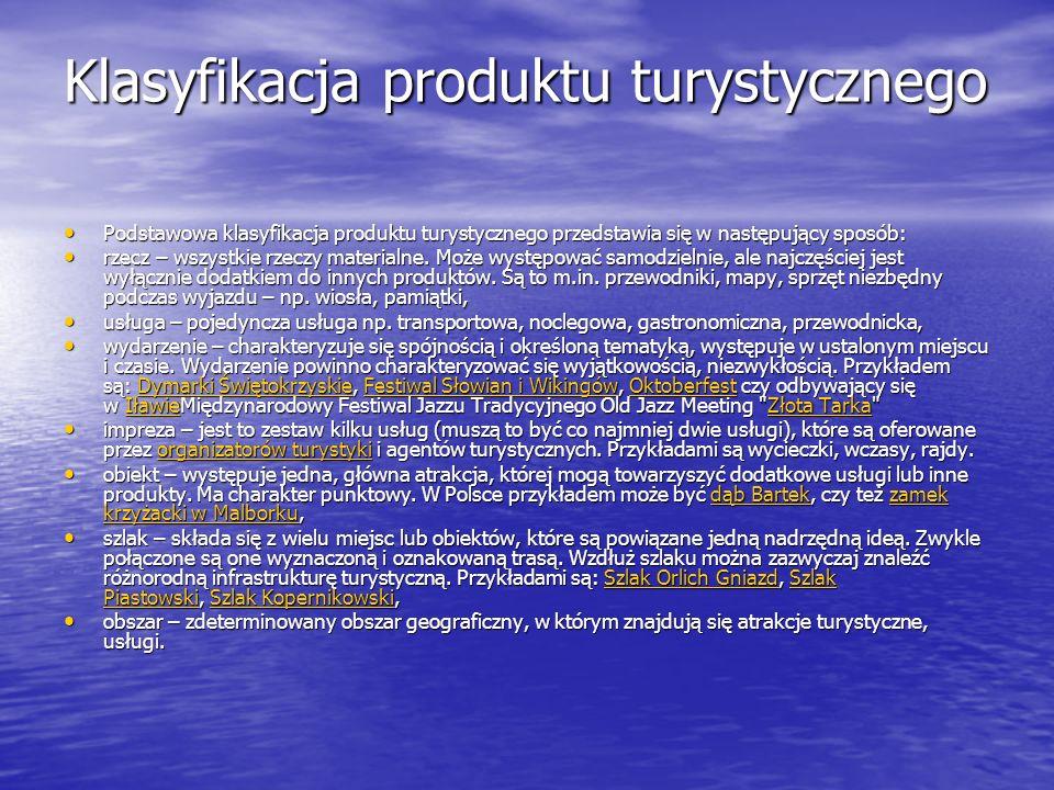 Klasyfikacja produktu turystycznego Podstawowa klasyfikacja produktu turystycznego przedstawia się w następujący sposób: Podstawowa klasyfikacja produ