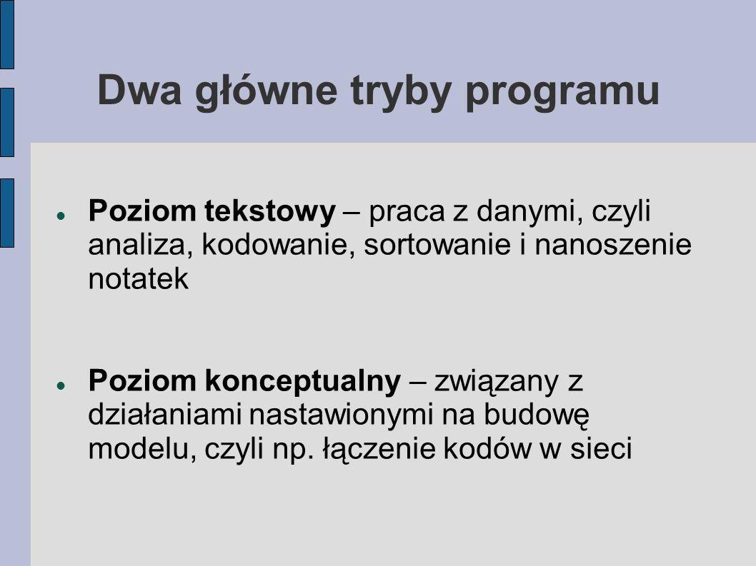 Dwa główne tryby programu Poziom tekstowy – praca z danymi, czyli analiza, kodowanie, sortowanie i nanoszenie notatek Poziom konceptualny – związany z działaniami nastawionymi na budowę modelu, czyli np.