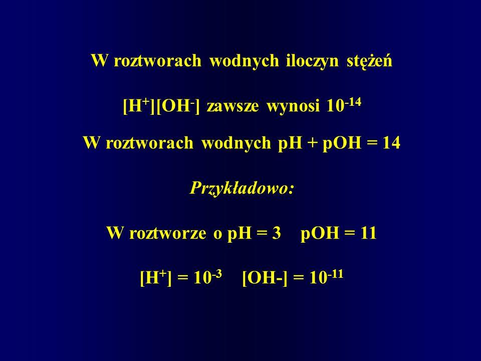 W roztworach wodnych iloczyn stężeń [H + ][OH - ] zawsze wynosi 10 -14 W roztworach wodnych pH + pOH = 14 Przykładowo: W roztworze o pH = 3 pOH = 11 [