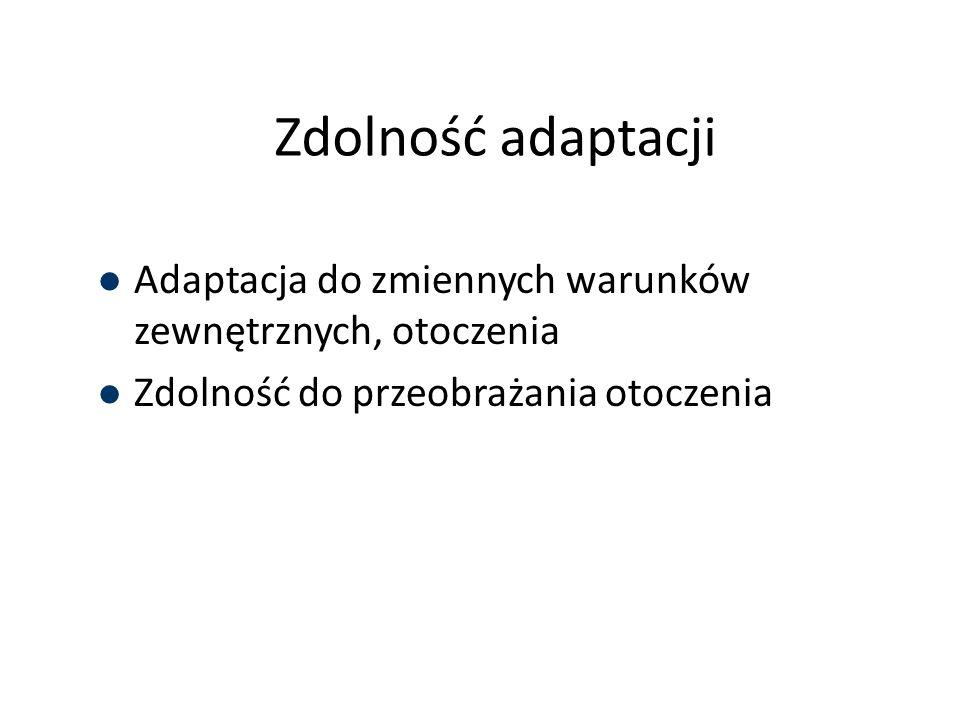 Zdolność adaptacji Adaptacja do zmiennych warunków zewnętrznych, otoczenia Zdolność do przeobrażania otoczenia