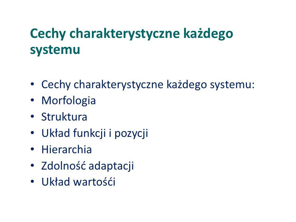 Cechy charakterystyczne każdego systemu Cechy charakterystyczne każdego systemu: Morfologia Struktura Układ funkcji i pozycji Hierarchia Zdolność adap