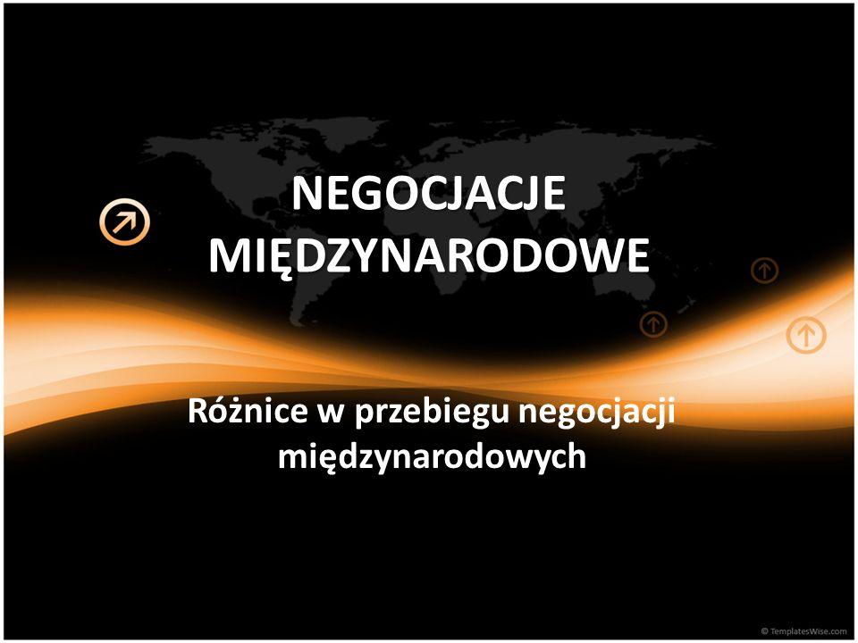NEGOCJACJE MIĘDZYNARODOWE Różnice w przebiegu negocjacji międzynarodowych