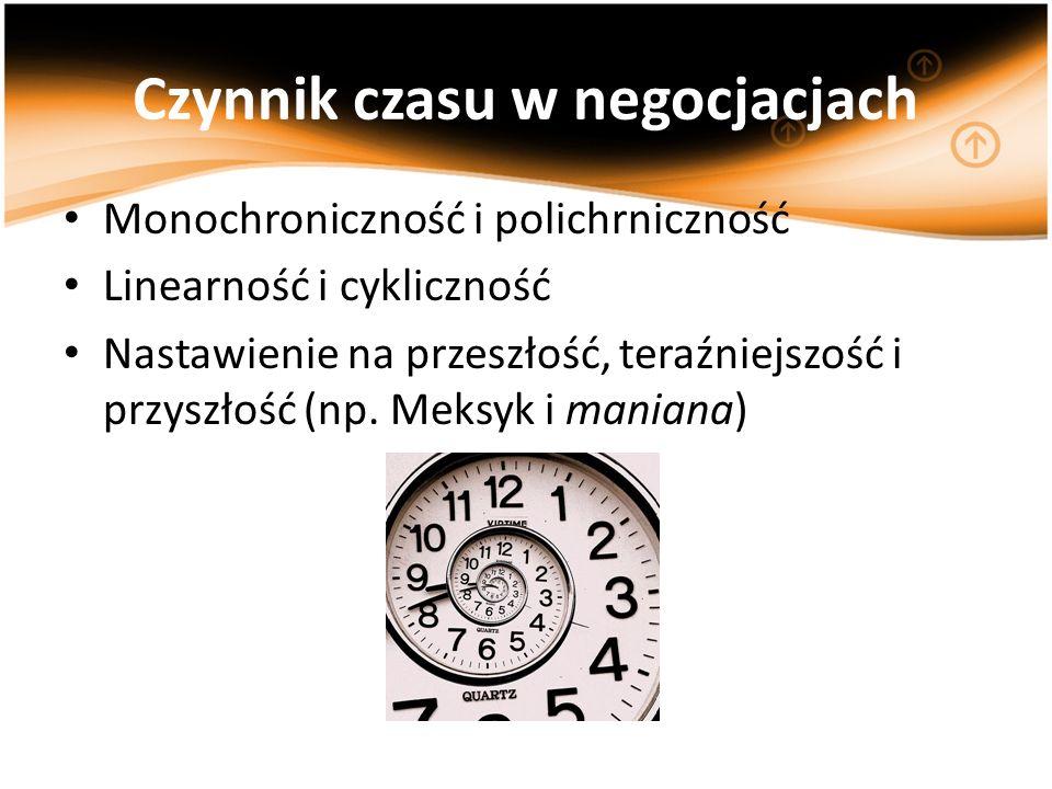 Czynnik czasu w negocjacjach Monochroniczność i polichrniczność Linearność i cykliczność Nastawienie na przeszłość, teraźniejszość i przyszłość (np. M