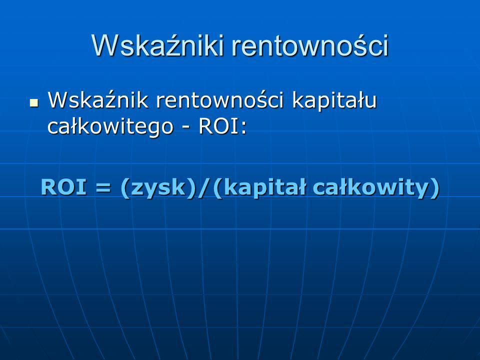 Wskaźniki rentowności Wskaźnik rentowności kapitału - ROE: Wskaźnik rentowności kapitału - ROE: ROE = (zysk netto/kapitał własny) Wskaźnik rentowności