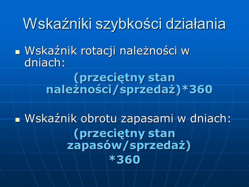 Wskaźniki płynności Wskaźnik płynności bieżącej: Wskaźnik płynności bieżącej: (aktywa obrotowe)/(pasywa krótkoterminowe) Wskaźnik płynności szybki: Ws
