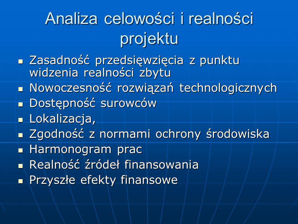 Ocena przedsięwzięcia inwestycyjnego Dwuetapowa ocena wniosku kredytowego: Analiza celowości i realności projektu – ma ocenić możliwość wykonania prze