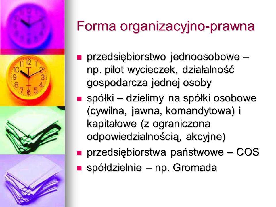 Forma organizacyjno-prawna przedsiębiorstwo jednoosobowe – np. pilot wycieczek, działalność gospodarcza jednej osoby przedsiębiorstwo jednoosobowe – n