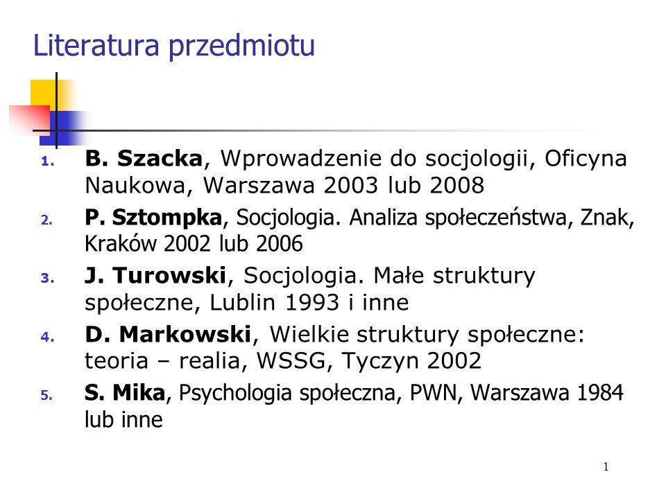 Literatura przedmiotu 1. B. Szacka, Wprowadzenie do socjologii, Oficyna Naukowa, Warszawa 2003 lub 2008 2. P. Sztompka, Socjologia. Analiza społeczeńs