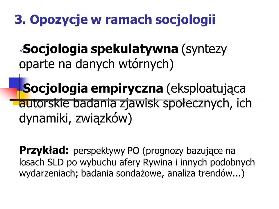 3. Opozycje w ramach socjologii Socjologia spekulatywna (syntezy oparte na danych wtórnych) Socjologia empiryczna (eksploatująca autorskie badania zja