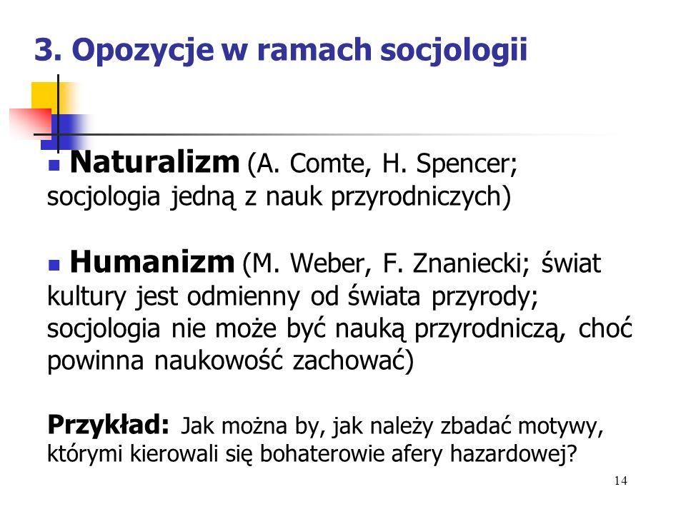 3. Opozycje w ramach socjologii Naturalizm (A. Comte, H. Spencer; socjologia jedną z nauk przyrodniczych) Humanizm (M. Weber, F. Znaniecki; świat kult