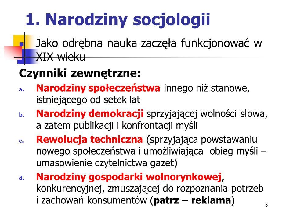 1.Narodziny socjologii Czynniki (kryteria) wewnętrzne: a.
