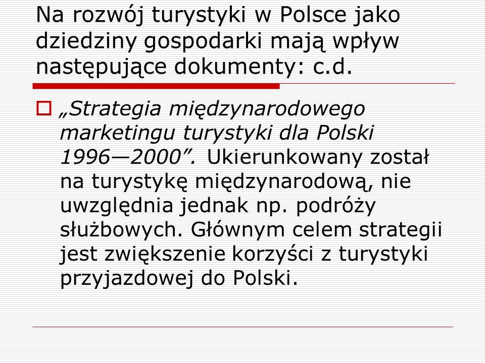 Strategia międzynarodowego marketingu turystyki dla Polski 19962000. Ukierunkowany został na turystykę międzynarodową, nie uwzględnia jednak np. podró