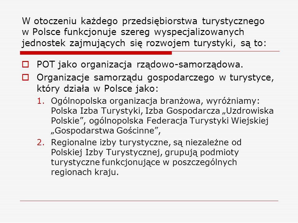 W otoczeniu każdego przedsiębiorstwa turystycznego w Polsce funkcjonuje szereg wyspecjalizowanych jednostek zajmujących się rozwojem turystyki, są to:
