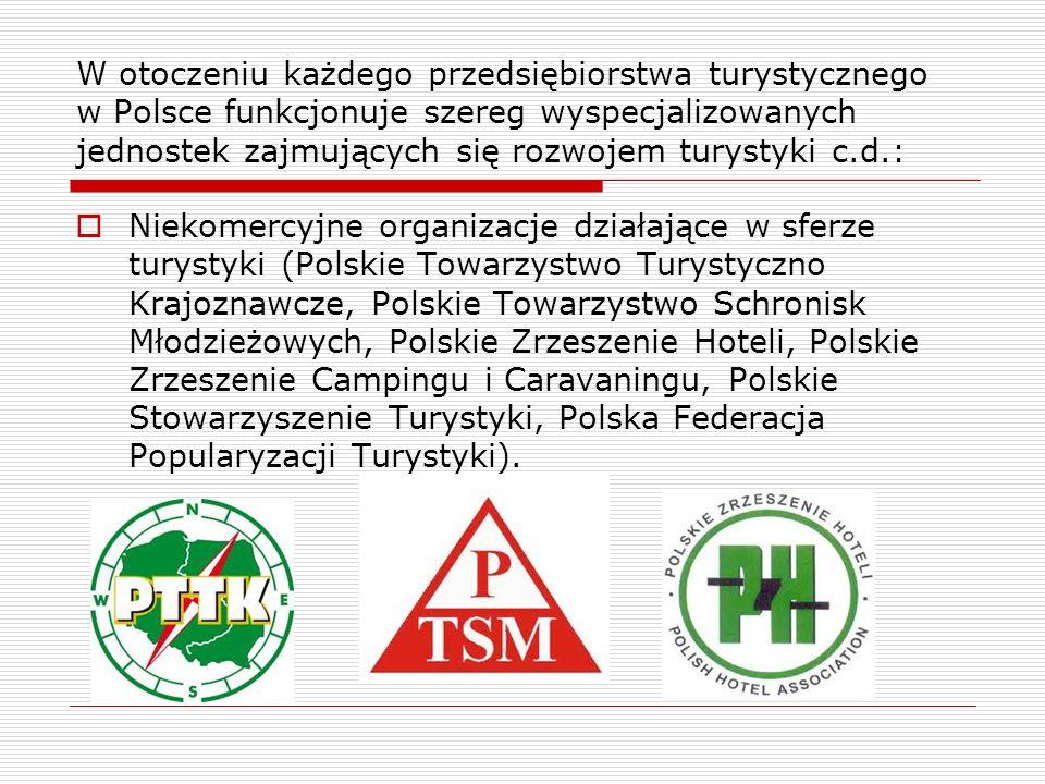 W otoczeniu każdego przedsiębiorstwa turystycznego w Polsce funkcjonuje szereg wyspecjalizowanych jednostek zajmujących się rozwojem turystyki c.d.: N