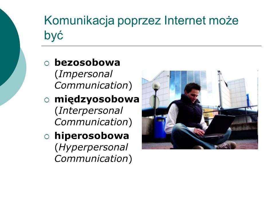 Komunikacja poprzez Internet może być bezosobowa (Impersonal Communication) międzyosobowa (Interpersonal Communication) hiperosobowa (Hyperpersonal Co