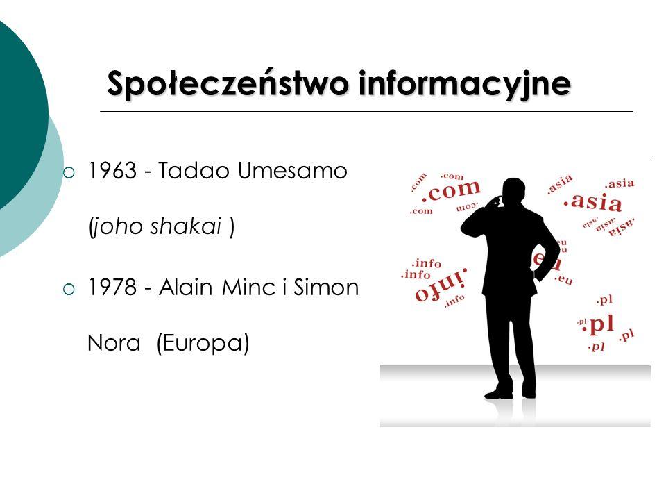 Społeczeństwo informacyjne 1963 - Tadao Umesamo (joho shakai ) 1978 - Alain Minc i Simon Nora (Europa)