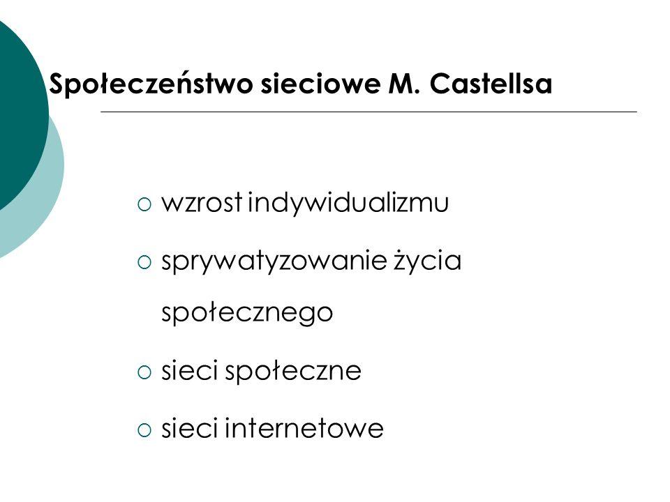 Społeczeństwo sieciowe M. Castellsa wzrost indywidualizmu sprywatyzowanie życia społecznego sieci społeczne sieci internetowe