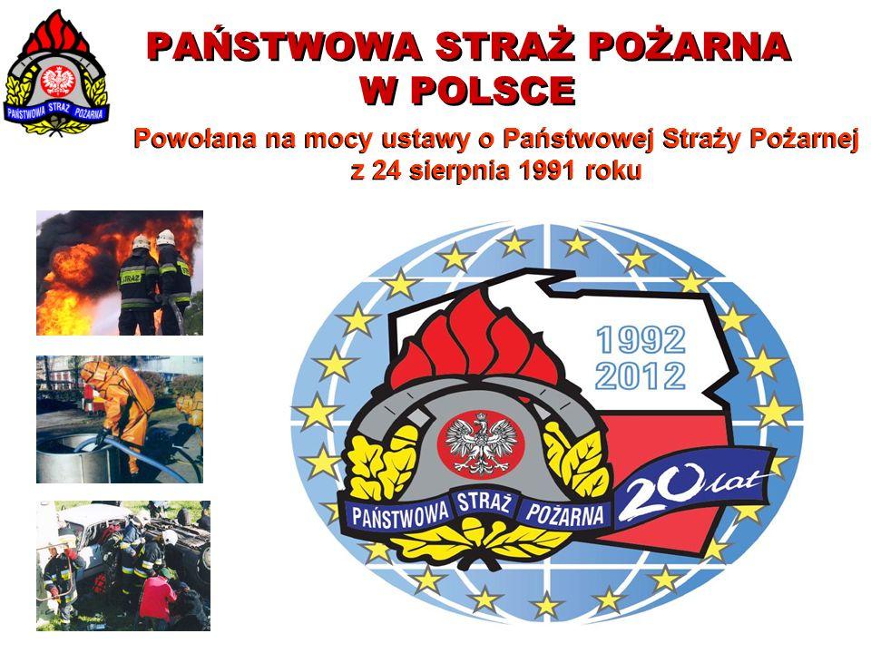 PAŃSTWOWA STRAŻ POŻARNA W POLSCE Powołana na mocy ustawy o Państwowej Straży Pożarnej z 24 sierpnia 1991 roku