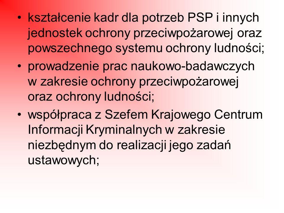 prowadzenie współpracy międzynarodowej, udział w przygotowywaniu i wykonywaniu umów międzynarodowych w zakresie określonym w ustawach i w tych umowach oraz kierowanie jednostek organizacyjnych PSP do akcji ratowniczych i humanitarnych poza granicę państwa, na podstawie wiążących Rzeczpospolitą Polską umów międzynarodowych; wprowadzanie podwyższonej gotowości operacyjnej w PSP w sytuacji zwiększonego prawdopodobieństwa katastrofy naturalnej lub awarii technicznej, których skutki mogą zagrozić życiu lub zdrowiu dużej liczby osób, mieniu w wielkich rozmiarach albo środowisku na znacznych obszarach, oraz w przypadku wystąpienia i utrzymywania się wzmożonego zagrożenia pożarowego.