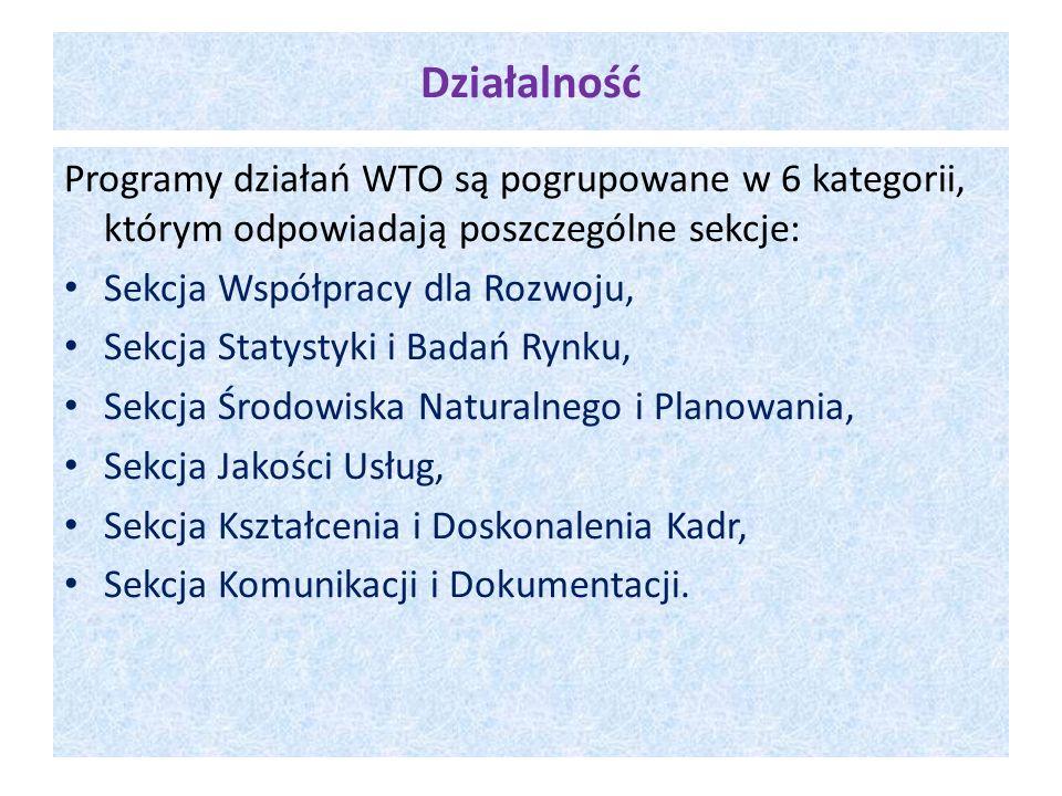 Działalność Programy działań WTO są pogrupowane w 6 kategorii, którym odpowiadają poszczególne sekcje: Sekcja Współpracy dla Rozwoju, Sekcja Statystyk