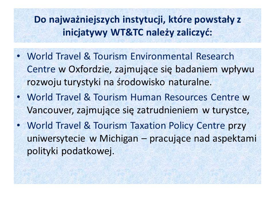 Do najważniejszych instytucji, które powstały z inicjatywy WT&TC należy zaliczyć: World Travel & Tourism Environmental Research Centre w Oxfordzie, za