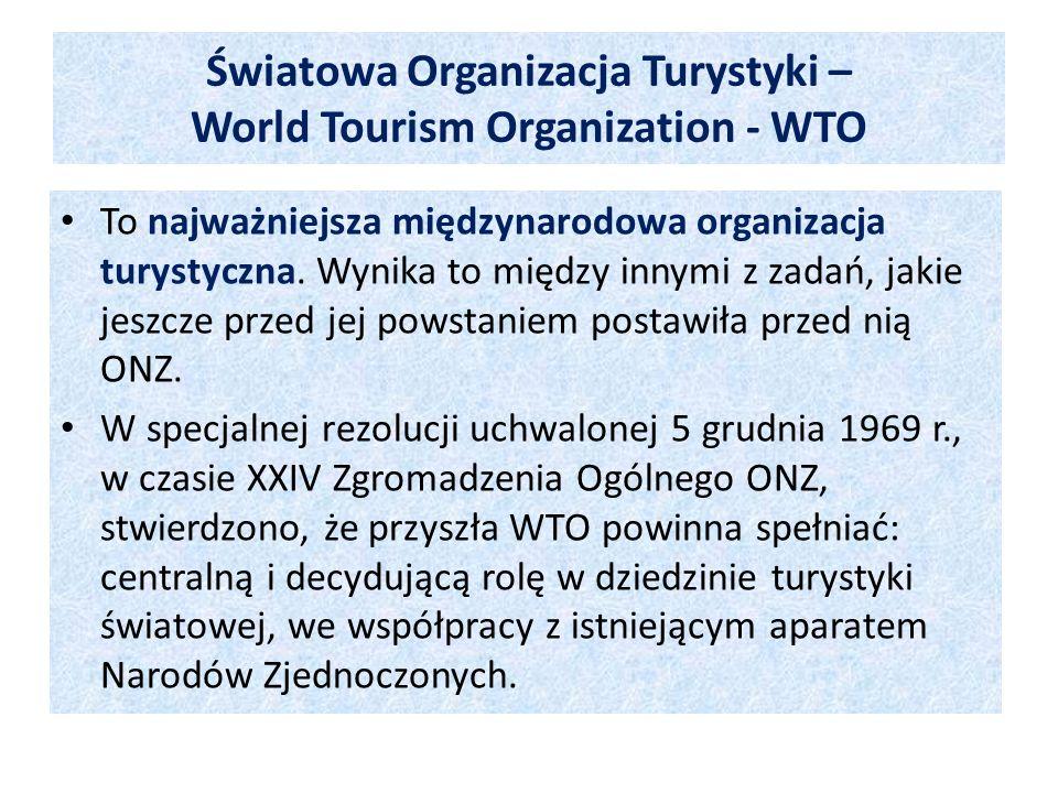 Światowa Organizacja Turystyki – World Tourism Organization - WTO To najważniejsza międzynarodowa organizacja turystyczna. Wynika to między innymi z z