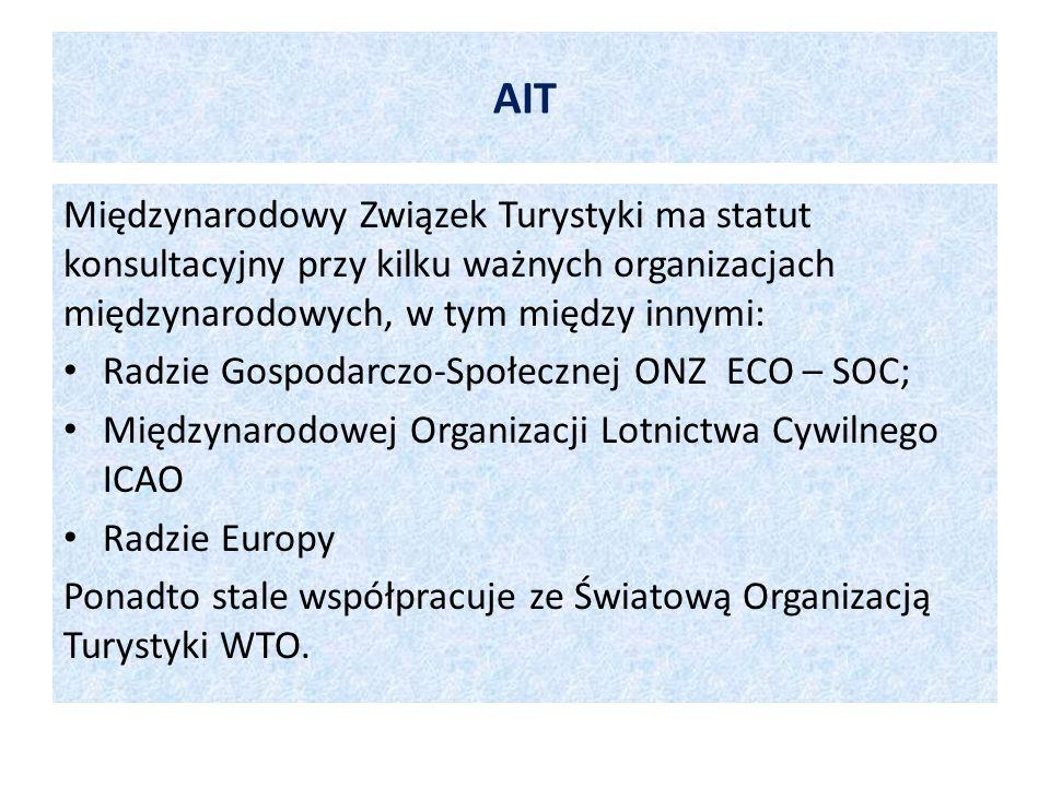 AIT Międzynarodowy Związek Turystyki ma statut konsultacyjny przy kilku ważnych organizacjach międzynarodowych, w tym między innymi: Radzie Gospodarcz