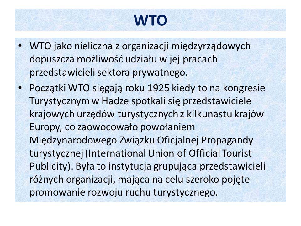 Cele Światowej Organizacji Turystyki Poprzez turystykę WTO pragnie: Stymulować rozwój gospodarczy (budowa infrastruktury, tworzenie nowych miejsc pracy), w tym zwłaszcza aktywizować obszary słabo rozwinięte.