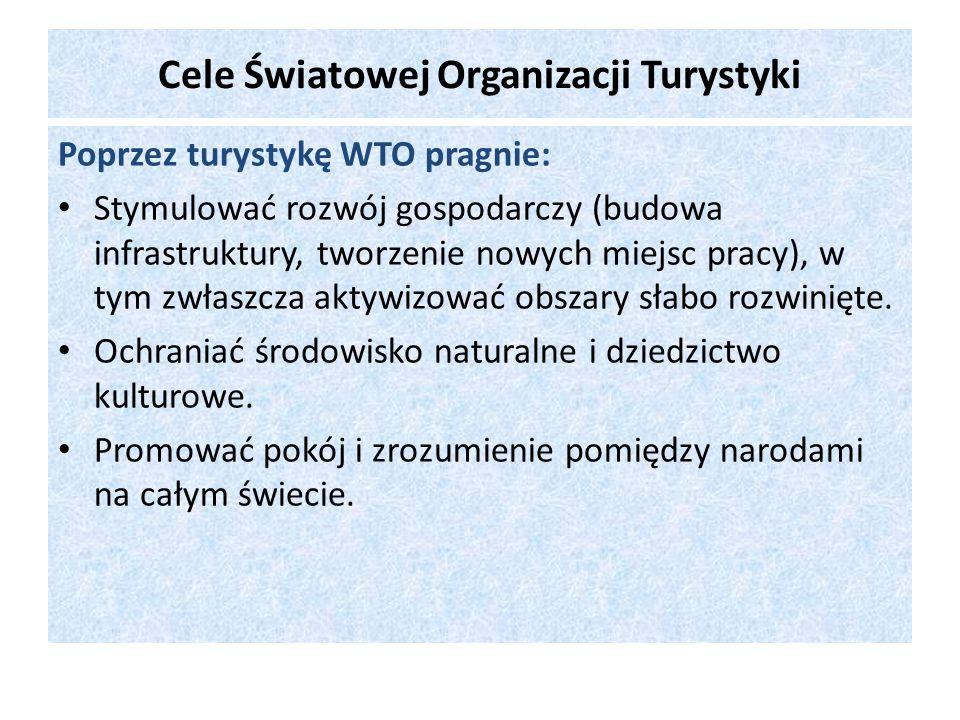 Cele Światowej Organizacji Turystyki Poprzez turystykę WTO pragnie: Stymulować rozwój gospodarczy (budowa infrastruktury, tworzenie nowych miejsc prac