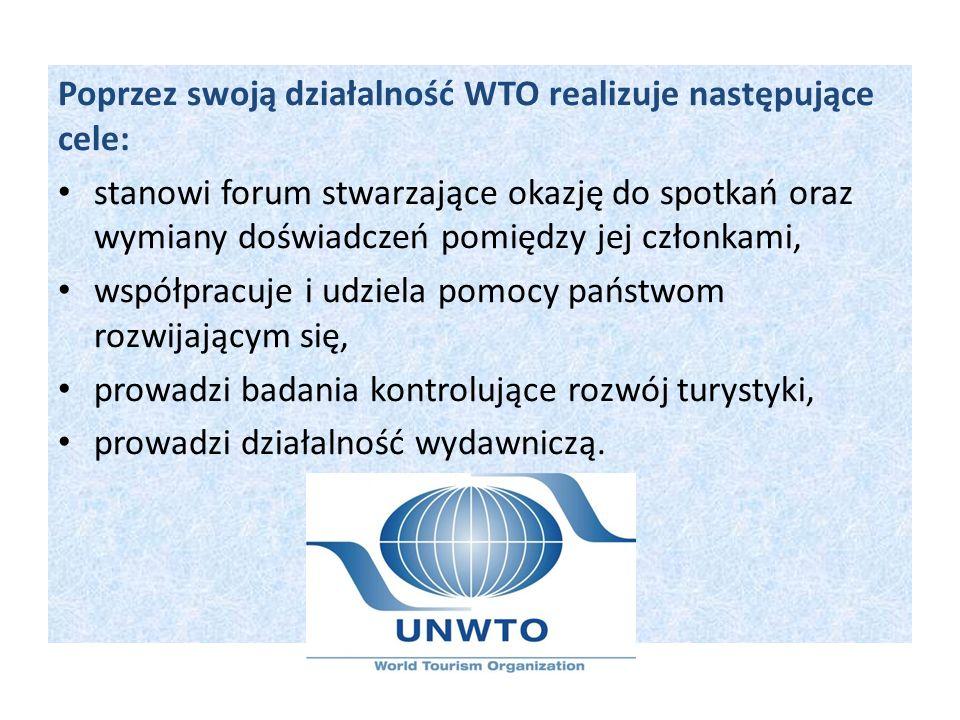 Poprzez swoją działalność WTO realizuje następujące cele: stanowi forum stwarzające okazję do spotkań oraz wymiany doświadczeń pomiędzy jej członkami,