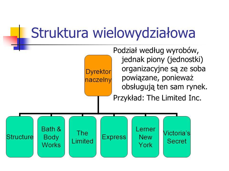 Struktura wielowydziałowa Podział według wyrobów, jednak piony (jednostki) organizacyjne są ze soba powiązane, ponieważ obsługują ten sam rynek. Przyk