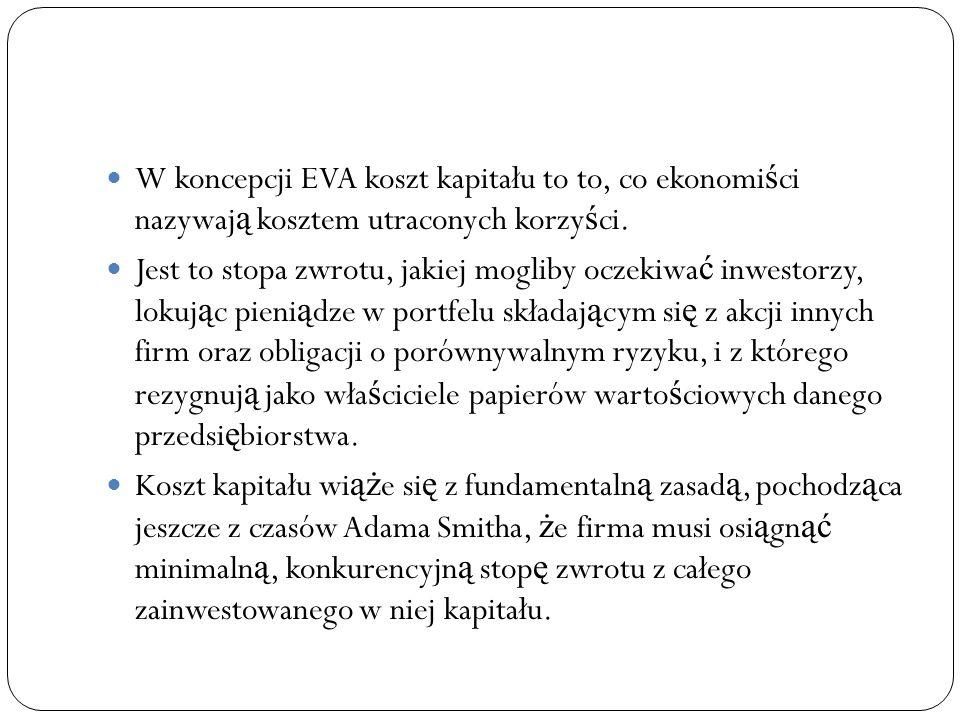 W koncepcji EVA koszt kapitału to to, co ekonomi ś ci nazywaj ą kosztem utraconych korzy ś ci. Jest to stopa zwrotu, jakiej mogliby oczekiwa ć inwesto