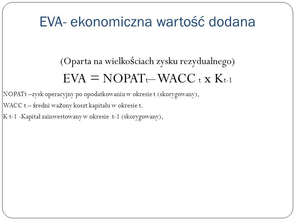 EVA- ekonomiczna wartość dodana (Oparta na wielko ś ciach zysku rezydualnego) EVA = NOPAT t – WACC t x K t-1 NOPATt –zysk operacyjny po opodatkowaniu