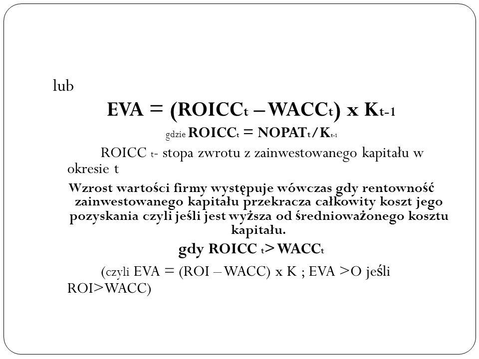 lub EVA = (ROICC t – WACC t ) x K t-1 gdzie ROICC t = NOPAT t /K t-1 ROICC t - stopa zwrotu z zainwestowanego kapitału w okresie t Wzrost warto ś ci f