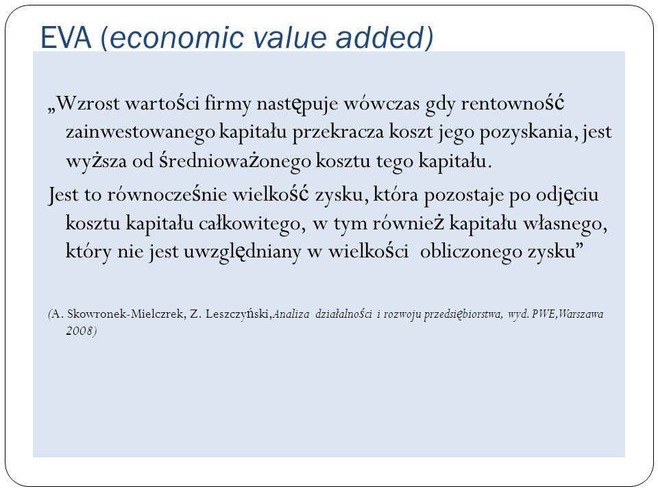 EVA (economic value added) Wzrost warto ś ci firmy nast ę puje wówczas gdy rentowno ść zainwestowanego kapitału przekracza koszt jego pozyskania, jest