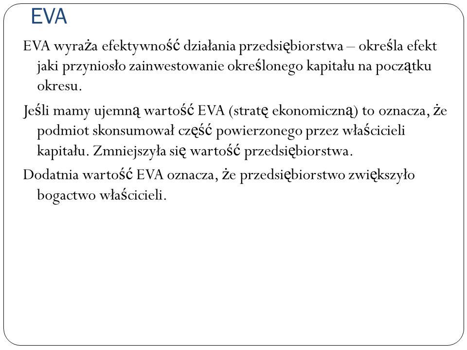 EVA EVA wyra ż a efektywno ść działania przedsi ę biorstwa – okre ś la efekt jaki przyniosło zainwestowanie okre ś lonego kapitału na pocz ą tku okres