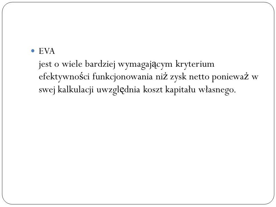 EVA jest o wiele bardziej wymagaj ą cym kryterium efektywno ś ci funkcjonowania ni ż zysk netto poniewa ż w swej kalkulacji uwzgl ę dnia koszt kapitał