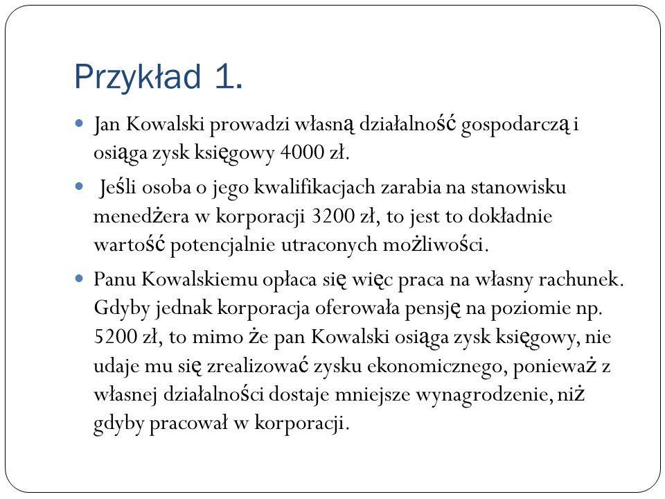 Przykład 1. Jan Kowalski prowadzi własn ą działalno ść gospodarcz ą i osi ą ga zysk ksi ę gowy 4000 zł. Je ś li osoba o jego kwalifikacjach zarabia na