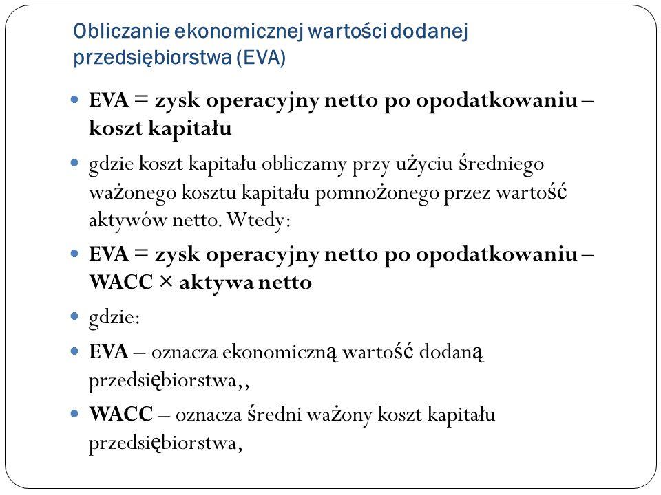 Obliczanie ekonomicznej wartości dodanej przedsiębiorstwa (EVA) EVA = zysk operacyjny netto po opodatkowaniu – koszt kapitału gdzie koszt kapitału obl