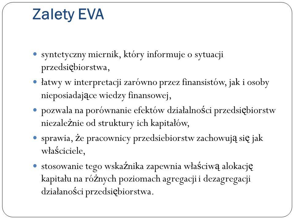 Zalety EVA syntetyczny miernik, który informuje o sytuacji przedsi ę biorstwa, łatwy w interpretacji zarówno przez finansistów, jak i osoby nieposiada