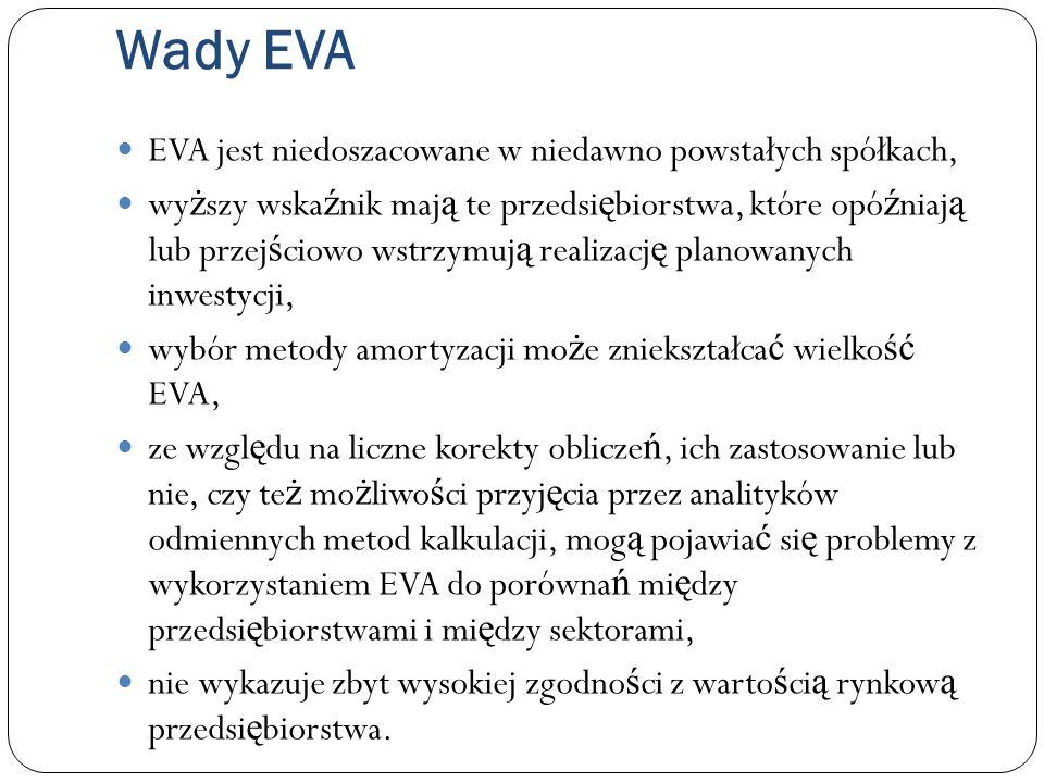 Wady EVA EVA jest niedoszacowane w niedawno powstałych spółkach, wy ż szy wska ź nik maj ą te przedsi ę biorstwa, które opó ź niaj ą lub przej ś ciowo