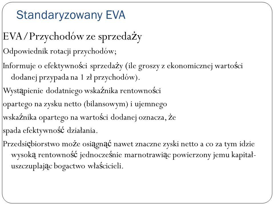 Standaryzowany EVA EVA/Przychodów ze sprzeda ż y Odpowiednik rotacji przychodów; Informuje o efektywno ś ci sprzeda ż y ( ile groszy z ekonomicznej wa