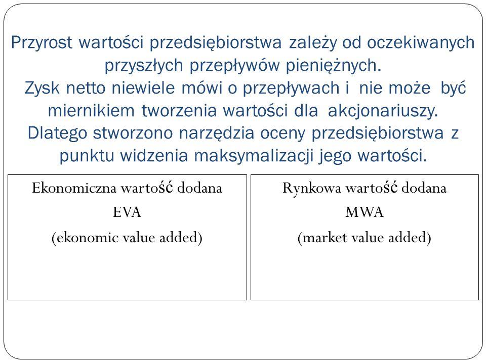 EVA to wartość różnicy między dochodem uzyskiwanym przez właściciela a dochodem przez niego oczekiwanym: dochód uzyskany = EBIT * (1-T) = NOPAT dochód oczekiwany = IC * WACC a wi ę c: EVA = EBIT * (1-T) – IC * WACC obja ś nienia: EBIT– zysk operacyjny przed opodatkowaniem; T – stopa podatku dochodowego IC – warto ść kapitału, która została zainwestowana przez wła ś cicieli oraz warto ść oprocentowanego kapitału wierzycieli (maj ą tek trwały + kapitał obrotowy ale bez oprocentowanych zobowi ą za ń bie żą cych)