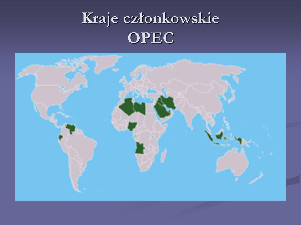 Organizacja Krajów eksportujących Ropę Naftową (OPEC), Powstała w 1960 r. podczas konferencji międzynarodowej w Bagdadzie, siedziba we Wiedniu. Powsta