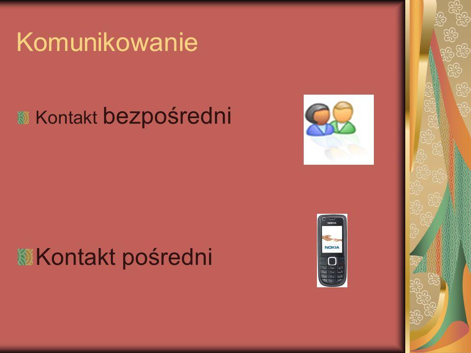 Komunikowanie Kontakt bezpośredni Kontakt pośredni