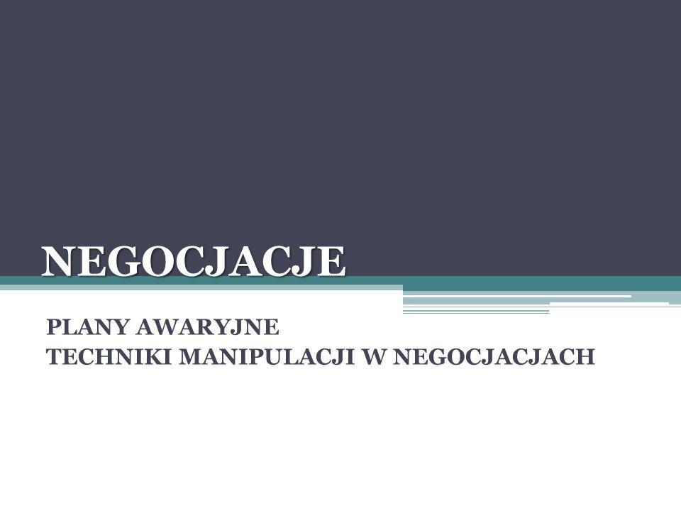 NEGOCJACJE PLANY AWARYJNE TECHNIKI MANIPULACJI W NEGOCJACJACH