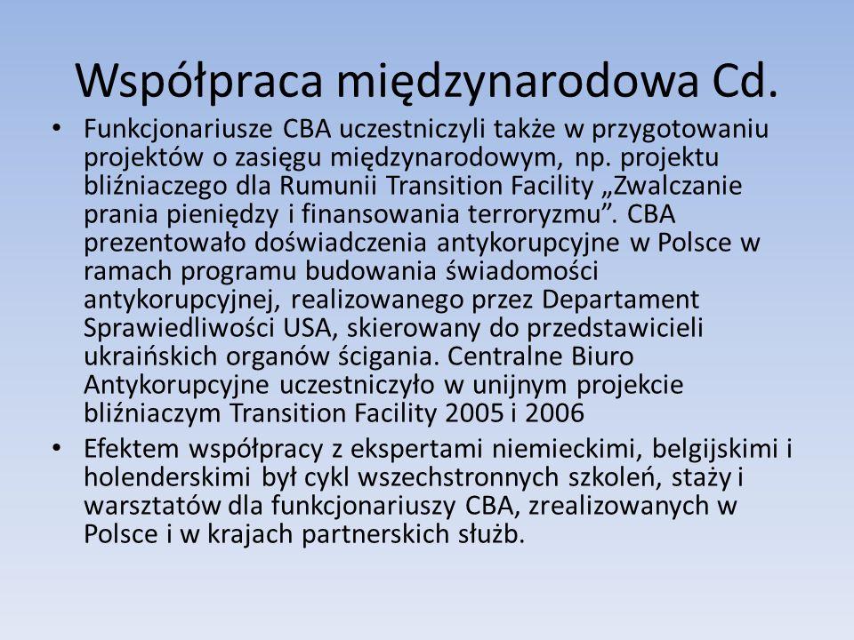 Współpraca międzynarodowa Cd. Funkcjonariusze CBA uczestniczyli także w przygotowaniu projektów o zasięgu międzynarodowym, np. projektu bliźniaczego d