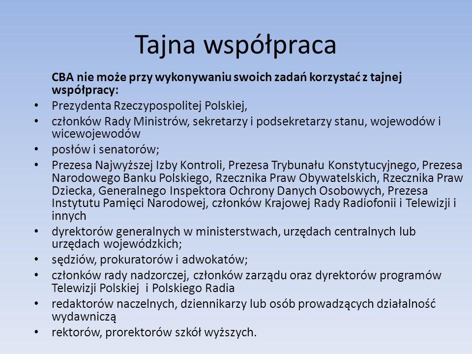 Tajna współpraca CBA nie może przy wykonywaniu swoich zadań korzystać z tajnej współpracy: Prezydenta Rzeczypospolitej Polskiej, członków Rady Ministr