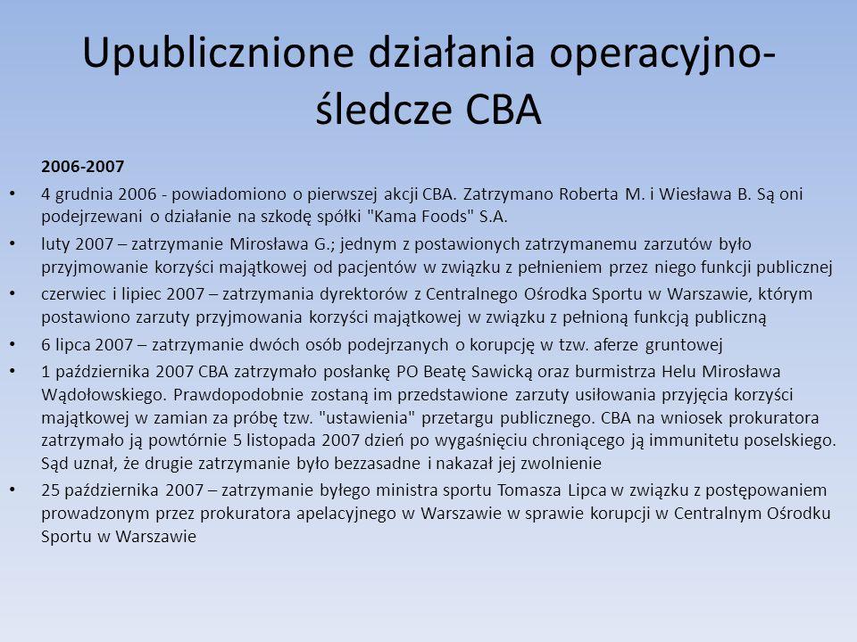 Upublicznione działania operacyjno- śledcze CBA 2006-2007 4 grudnia 2006 - powiadomiono o pierwszej akcji CBA. Zatrzymano Roberta M. i Wiesława B. Są